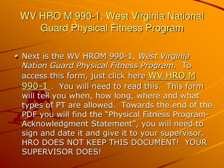 WV HRO M 990-1, West Virginia National     Guard Physical Fitness Program
