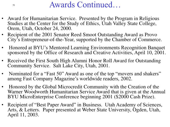 Awards Continued…