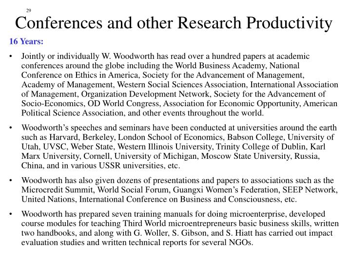 Conferences and other Research Productivity