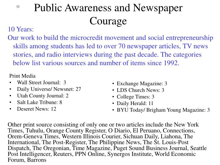 Public Awareness and Newspaper Courage