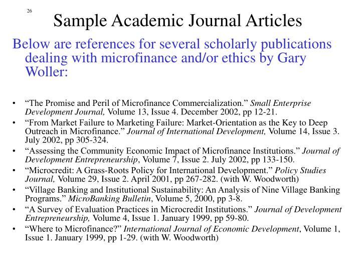 Sample Academic Journal Articles
