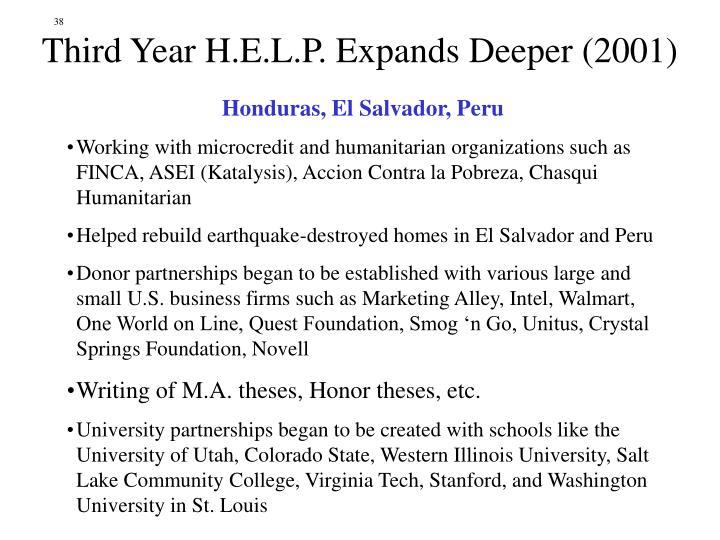 Third Year H.E.L.P. Expands Deeper (2001)