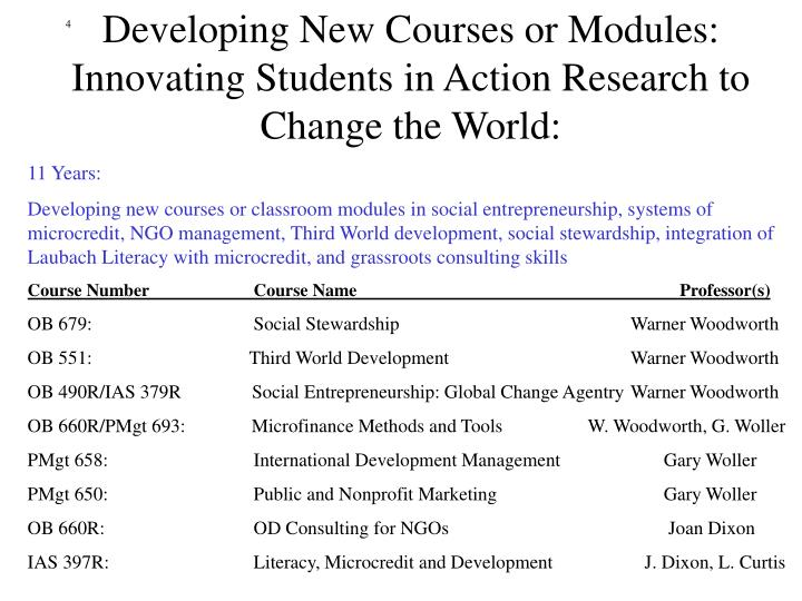 Developing New Courses or Modules: Innovating Students in Action Research to Change the World: