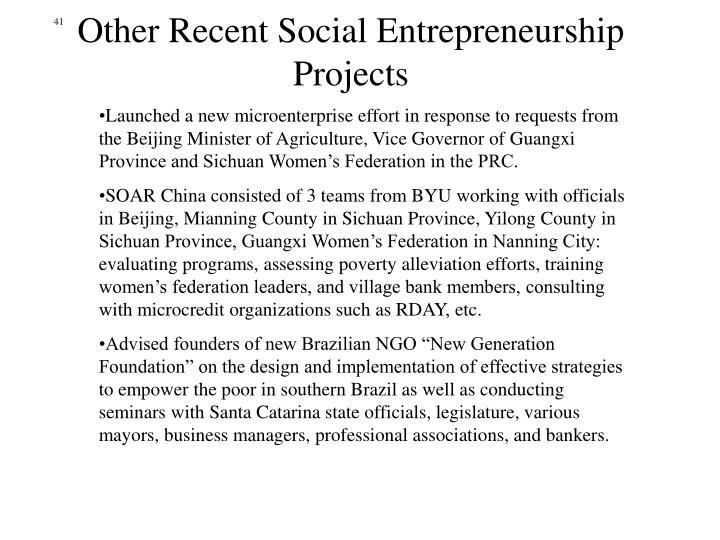Other Recent Social Entrepreneurship Projects