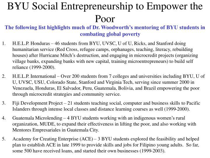 BYU Social Entrepreneurship to Empower the Poor