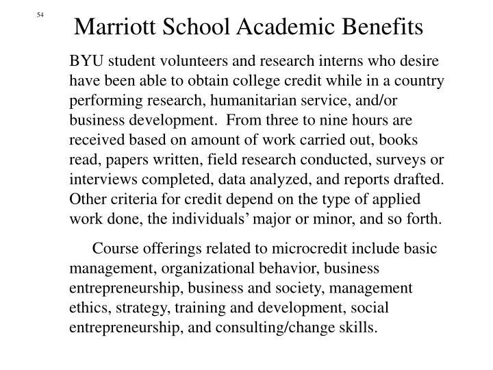 Marriott School Academic Benefits