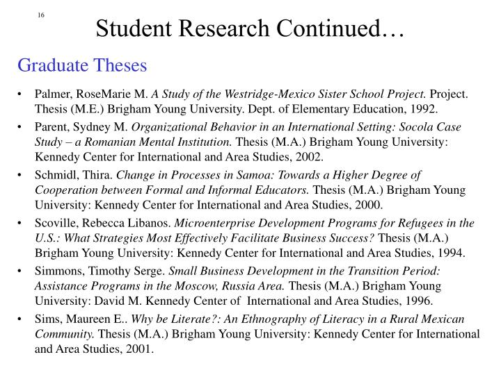 Student Research Continued…