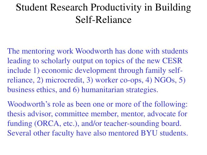 Student Research Productivity in Building Self-Reliance