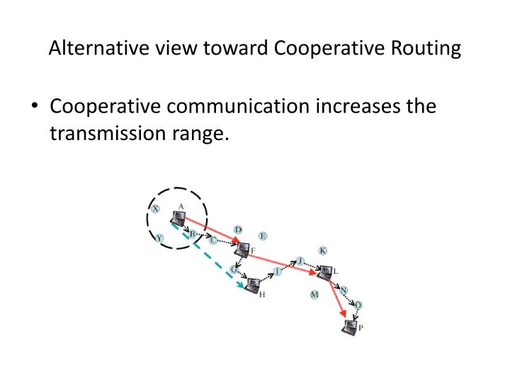 Alternative view toward Cooperative Routing