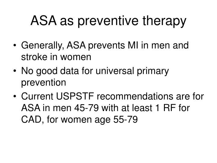 ASA as preventive therapy