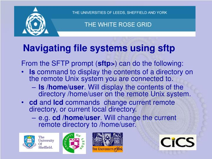 Navigating file systems using sftp