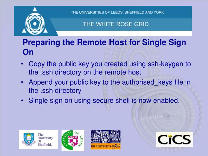 Preparing the Remote Host for Single Sign On