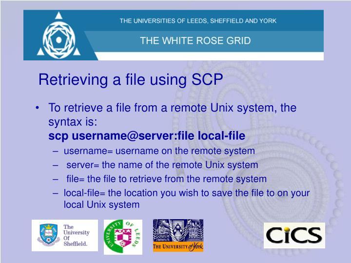 Retrieving a file using SCP