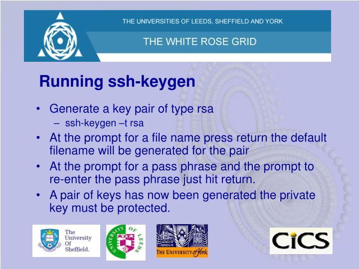 Running ssh-keygen