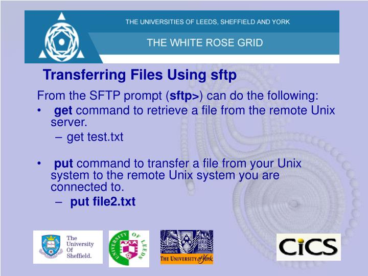 Transferring Files Using sftp