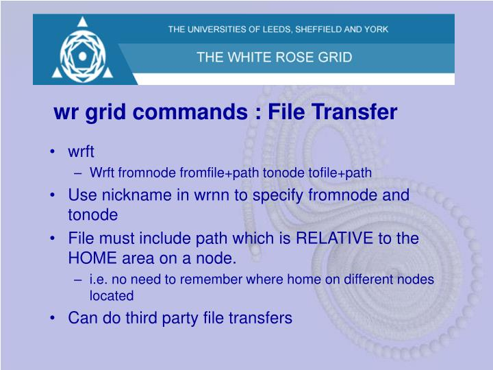 wr grid commands : File Transfer