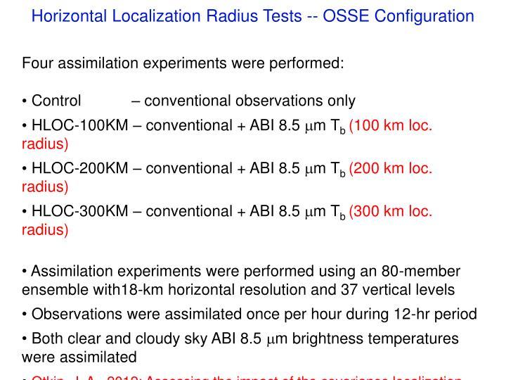 Horizontal Localization Radius Tests -- OSSE Configuration