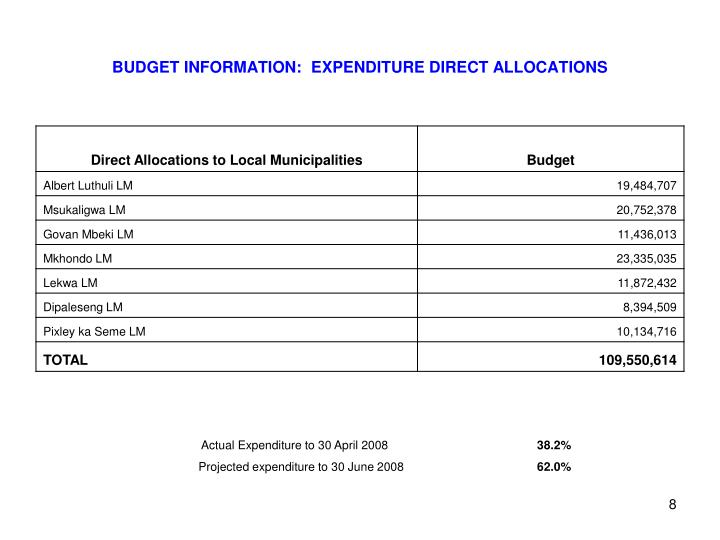 BUDGET INFORMATION:  EXPENDITURE DIRECT ALLOCATIONS