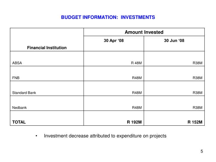BUDGET INFORMATION:  INVESTMENTS