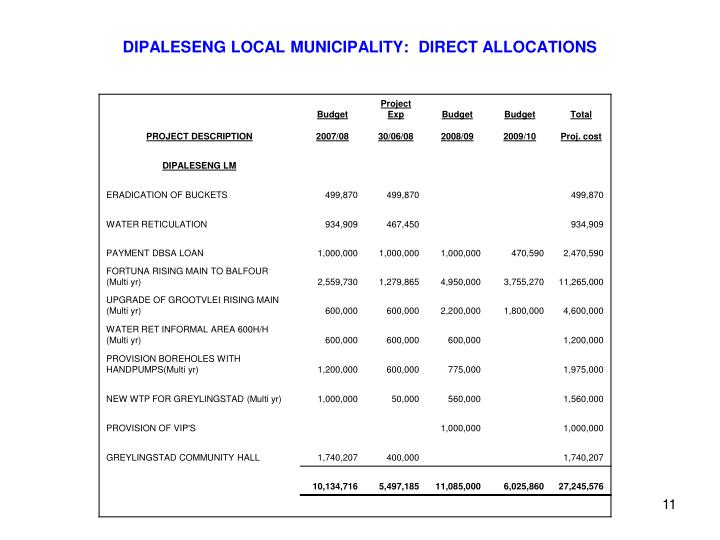 DIPALESENG LOCAL MUNICIPALITY:  DIRECT ALLOCATIONS