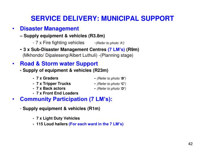 SERVICE DELIVERY: MUNICIPAL SUPPORT