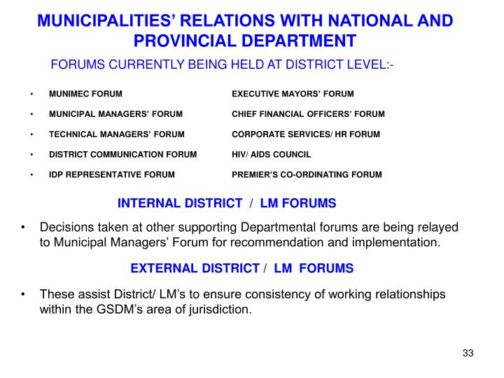 MUNICIPALITIES' RELATIONS WITH NATIONAL AND PROVINCIAL DEPARTMENT