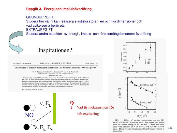 Uppgift 3.  Energi och impluls