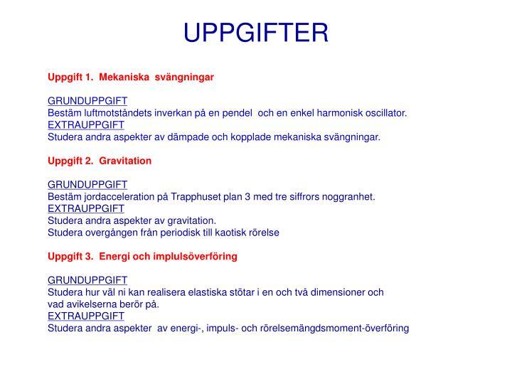 UPPGIFTER