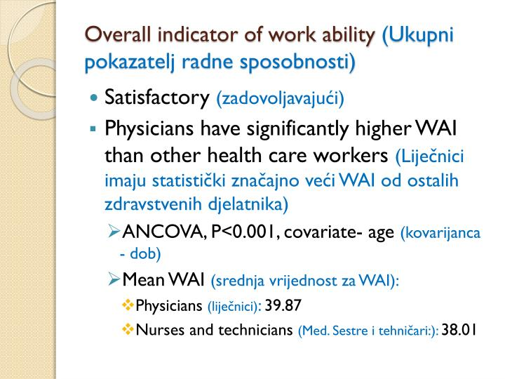 Overall indicator of work ability