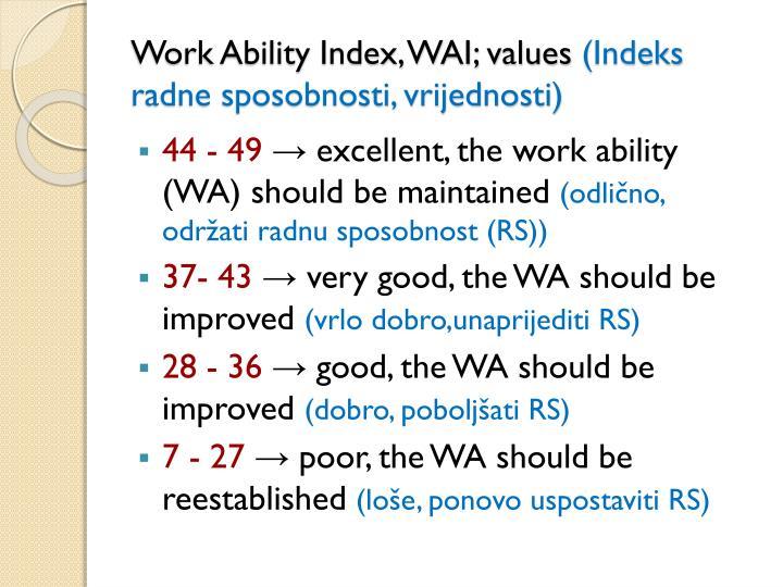 Work Ability Index, WAI; values