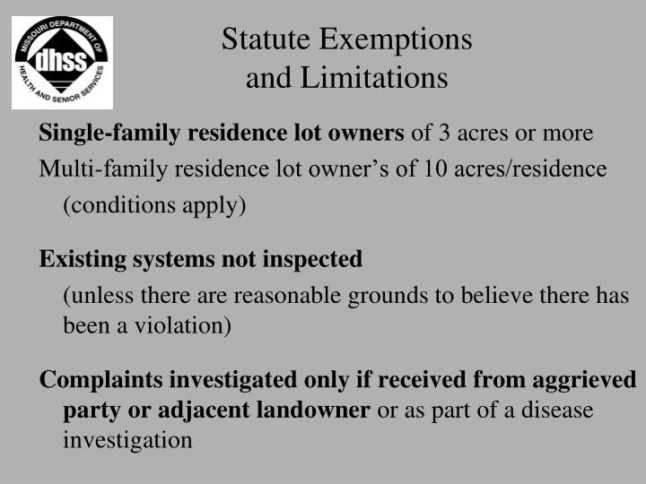Statute Exemptions