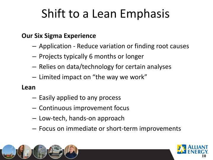Shift to a Lean Emphasis