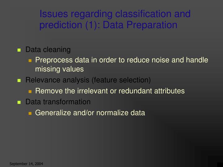 Issues regarding classification and prediction (1): Data Preparation