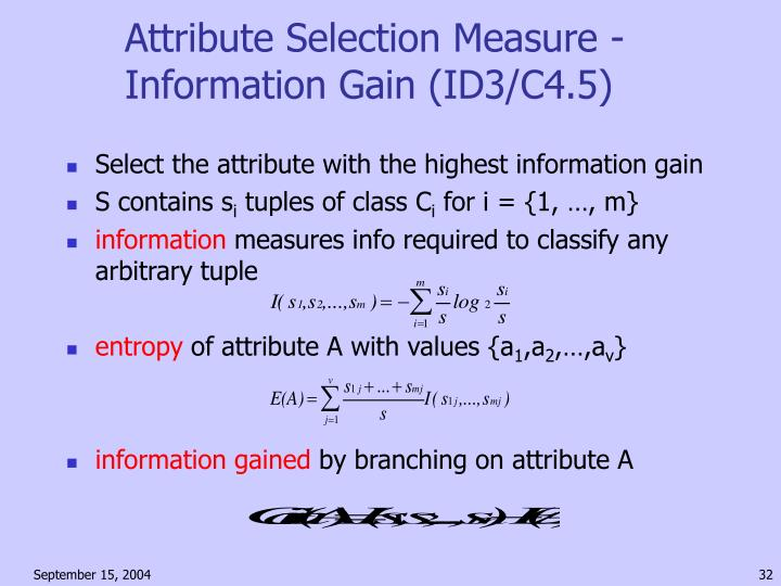 Attribute Selection Measure - Information Gain (ID3/C4.5)