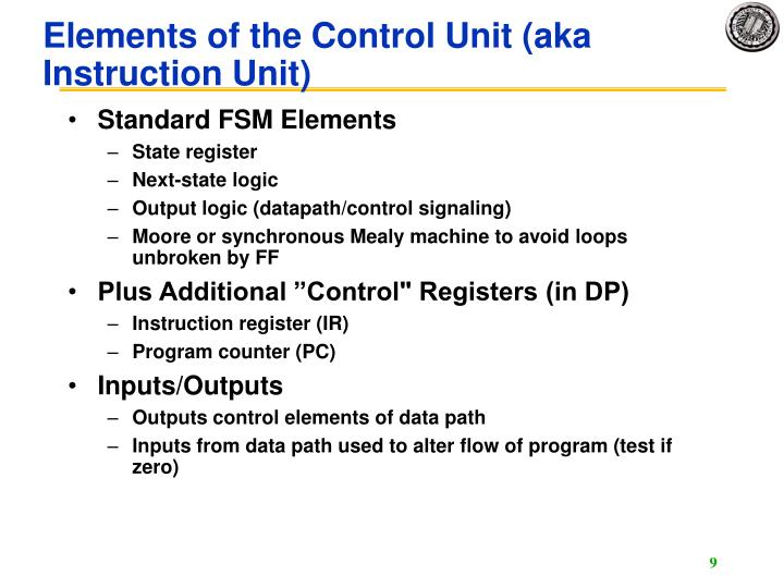 Elements of the Control Unit (aka Instruction Unit)