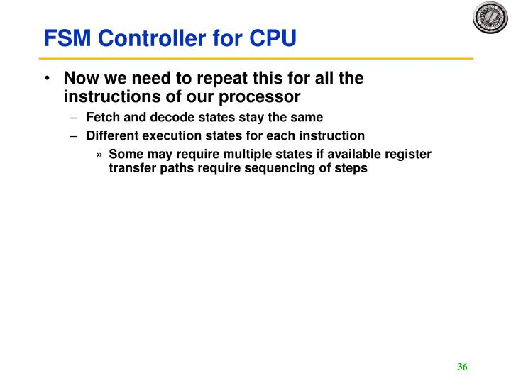 FSM Controller for CPU