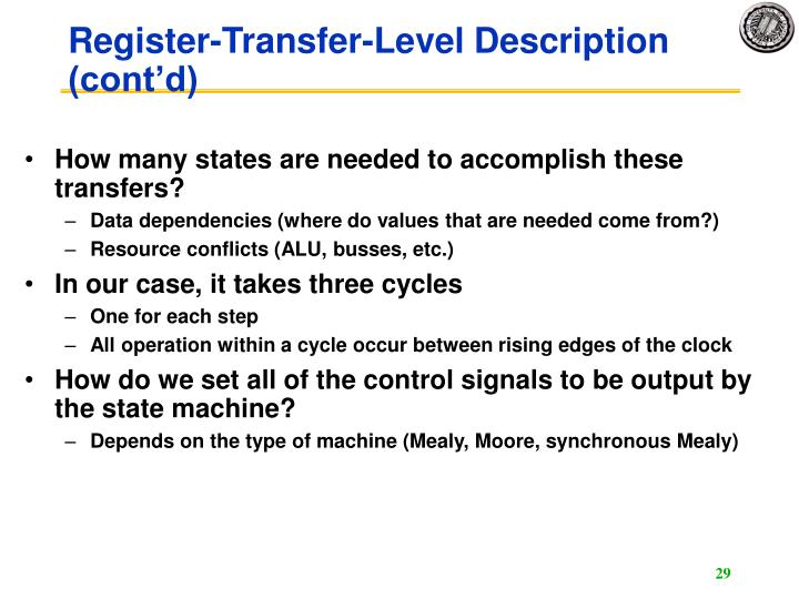 Register-Transfer-Level Description (cont'd)