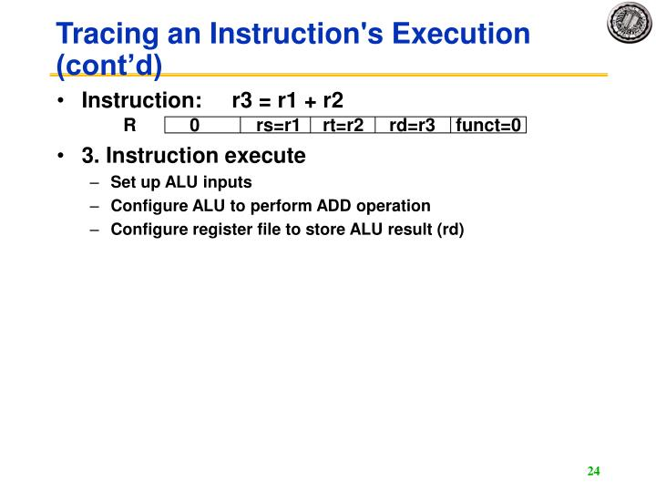 Tracing an Instruction's Execution (cont'd)