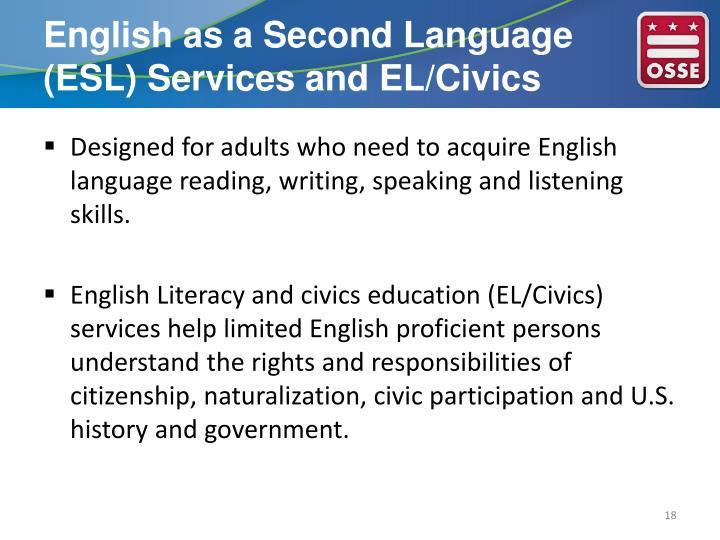 English as a Second Language (ESL) Services and EL/Civics