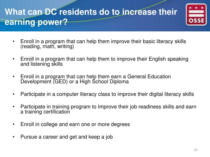 What can DC residents do to increase their earning power?