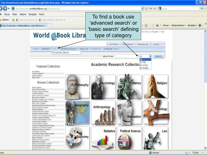 To find a book use 'advanced search' or 'basic search' defining type of category