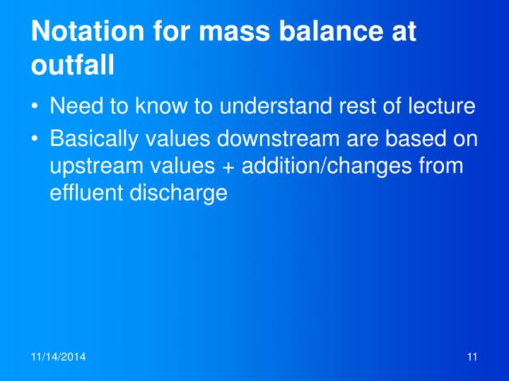 Notation for mass balance at outfall