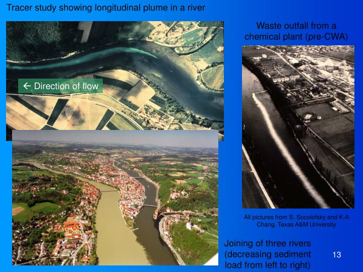 Tracer study showing longitudinal plume in a river