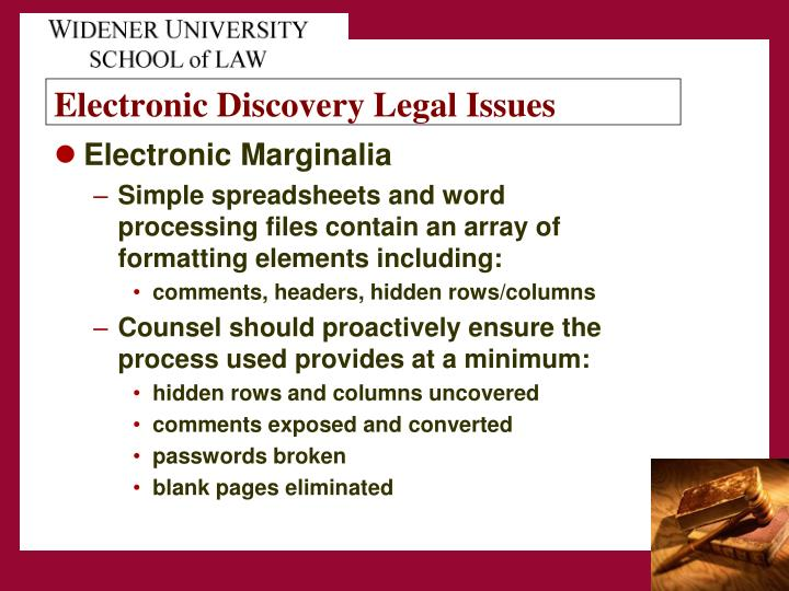 Electronic Discovery Legal Issues