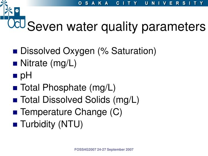 Seven water quality parameters