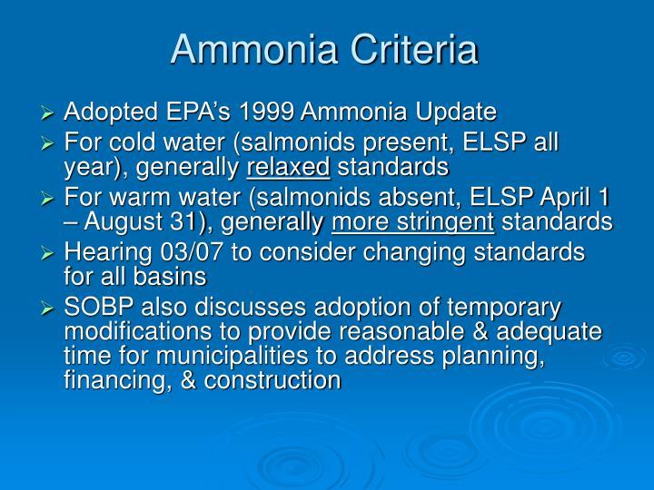Ammonia Criteria