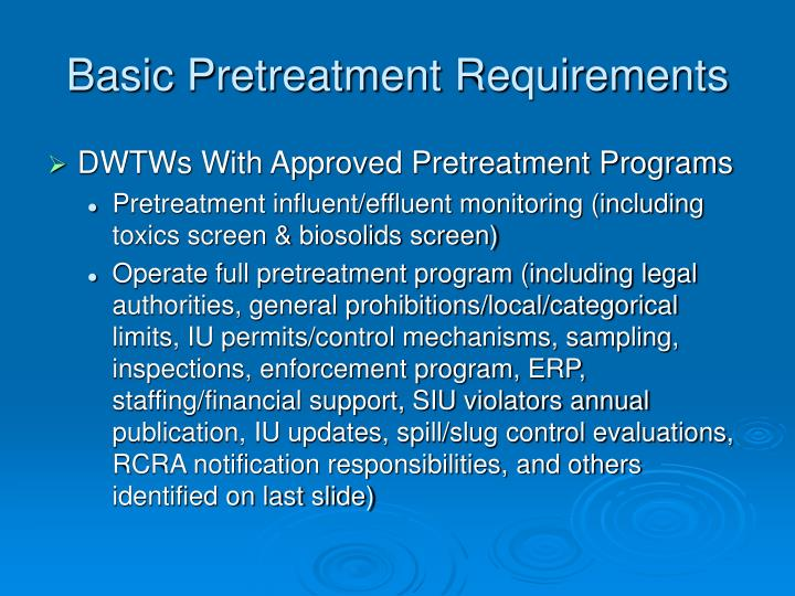 Basic Pretreatment Requirements