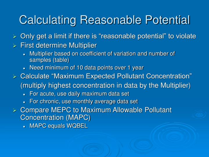 Calculating Reasonable Potential