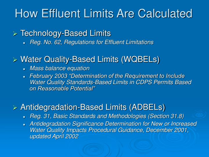 How Effluent Limits Are Calculated