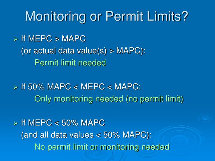 Monitoring or Permit Limits?